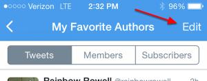 Mobile Twitter Edit List