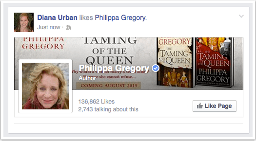 Philippa Gregory Facebook Page