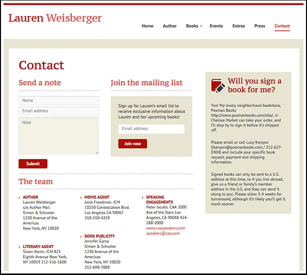 Lauren Weisberger's Contact Page