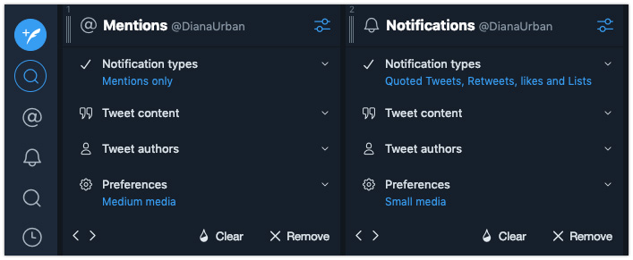 TweetDeck settings