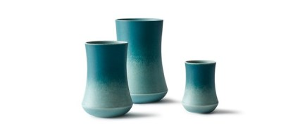 """""""With the Skala series I wanted to create a vase series that is beautiful as well as functional. At the same time I wanted to create a vase that acts as a blank plate from where the glaze can flow into each other and creates beautiful colour variations.The vases are made in porcelain and glazed with two matt glazes that flow together on the outside of the vases."""" - Kristina Vildersboll"""