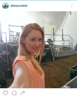 Backstage during the day