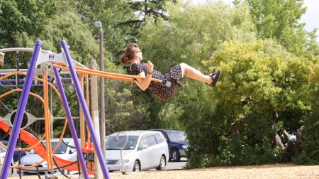 Me swinging on the swings on the playground.
