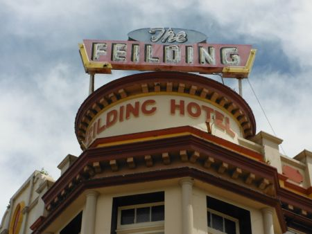 Image of the sign about the Feilding hotel.