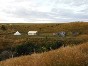 Campsite with a hill in the background. In the foreground from left to right: a bell tent, a square tent, an outdoor kitchen/dining area with toilet and shower room attached, and 2 outdoor bath tubs.
