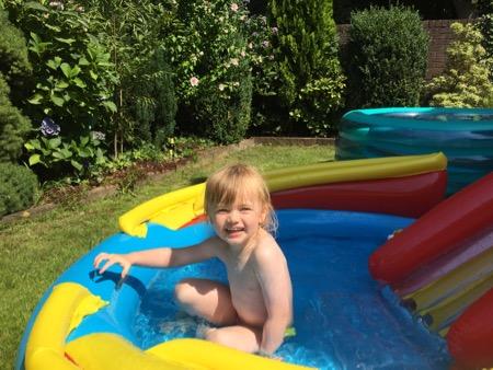 Lisa in the kiddies' pool.