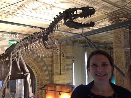 Diane and an Albertosaurus skeleton.