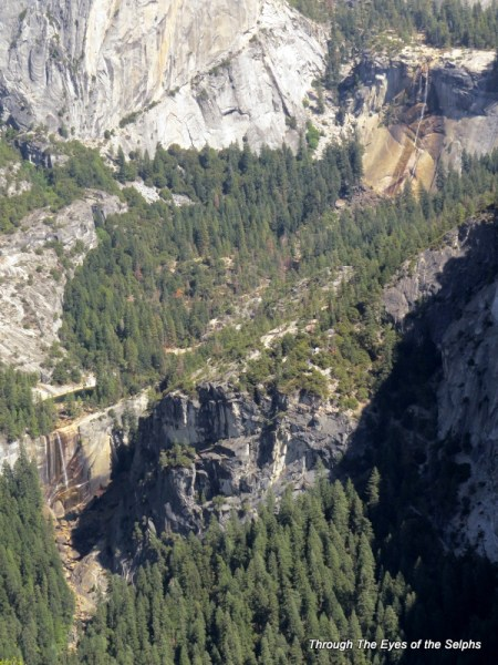 Nevada Falls in upper right and Vernal Falls in lower left