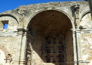"""A close-up view of the ruins of Mission San Juan Capistrano's """"Great Stone Church,"""" destroyed by earthquake in 1812"""