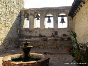 The two original small bells and copies of the large bells from the destroyed bell tower