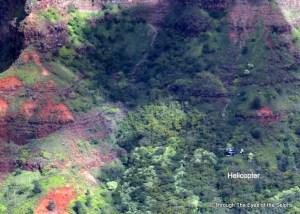 Waimea Canyon with helicopter