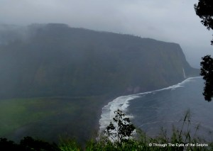 The Waipio valley is to the left