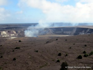 Halemaumau Crater emitting gas plume at the summit of Kilauea Crater/Volcano