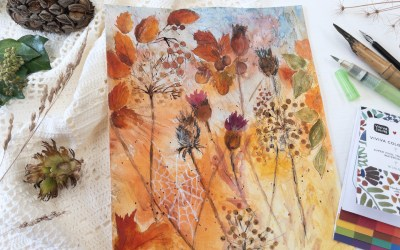 Watercolor Autumn Leaves, Seedheads and Berries – paint your own Fall home decor