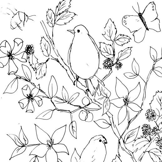sketch of little watercolor birds in flowers
