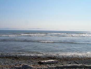 Straight of Juan de Fuca Beachfront at Jordan River, BC 60km NW of Victoria looking towards the Olympic Peninsula in NW Washington State, USA