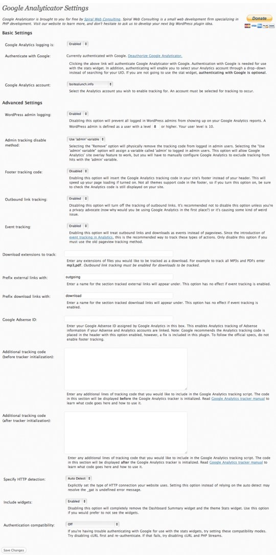 Google-Analyticator-Settings