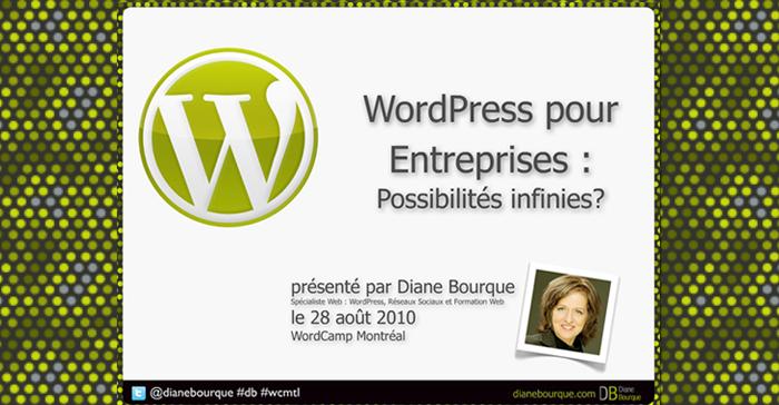Ma conférence: WordPress pour Entreprises: Possibilités infinies?