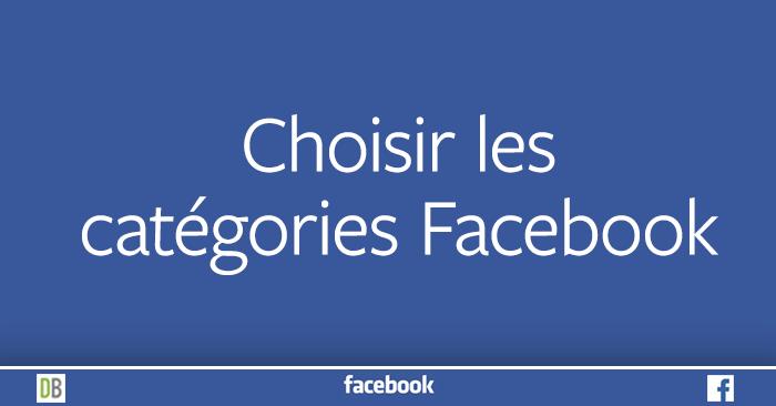 Choisir les catégories pour votre Page Facebook