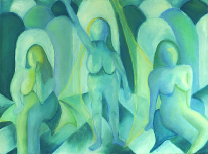 Reflections in Blue III, teal pastel of a figure