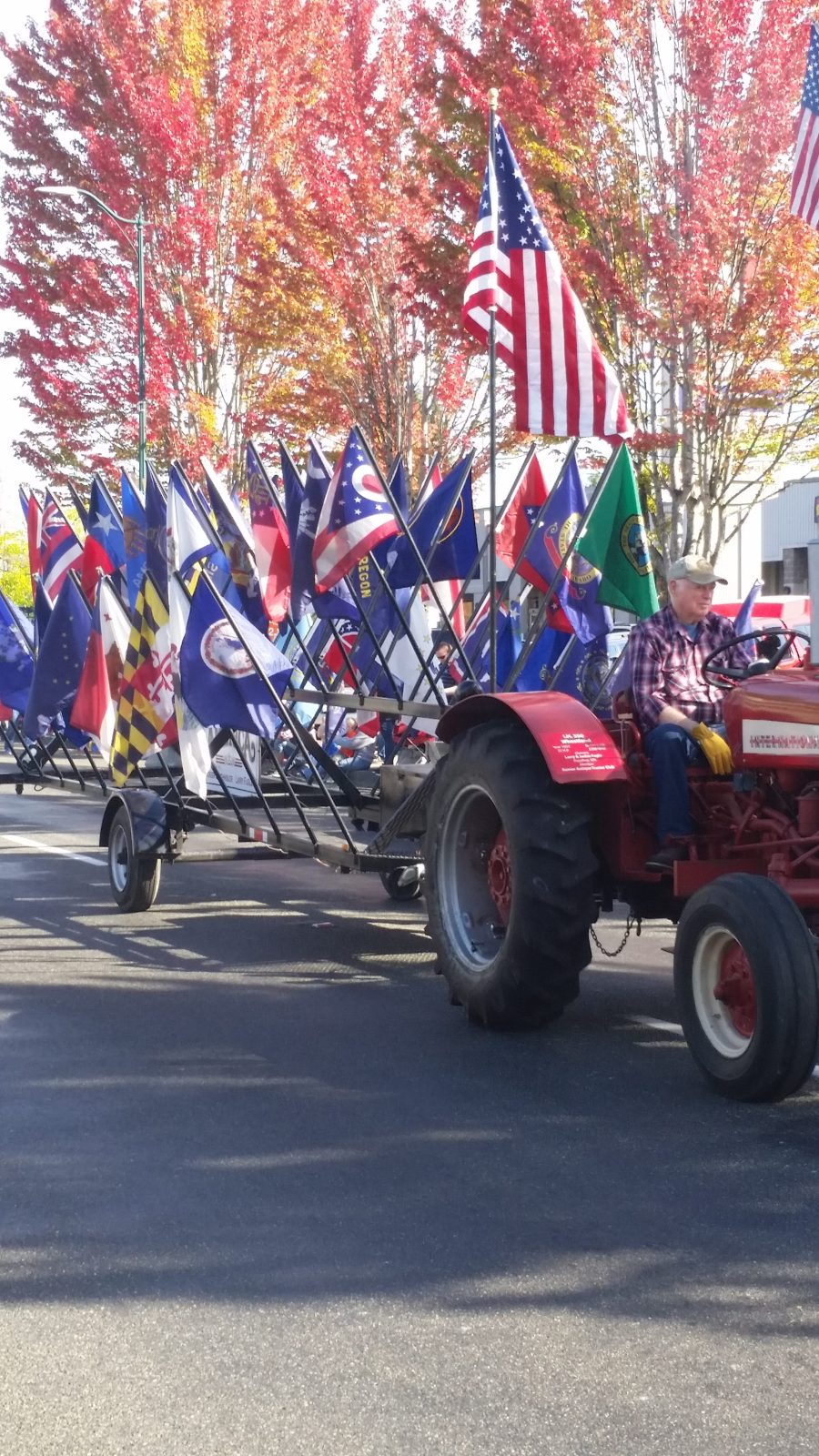Tractor and Flags