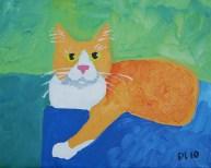 """Bailey the Cat, Diane Dyal, Acrylic, 9""""x12"""", 2010"""