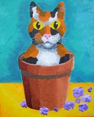 """Kitten in a Flower Pot, Diane Dyal, Acrylic, 16""""x20"""", 2012"""
