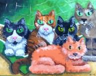 """The Sarah Cat Five, Diane Dyal, Acrylic, 16""""x20"""", 2014"""