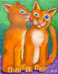 "Very Clean Kittens, Diane Dyal, Acrylic, 11""x14"", 2012"