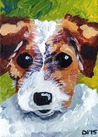 "Zoey the Pup, Diane Dyal, Acrylic, 5""x7"", 2015"