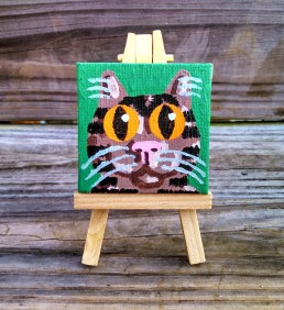 """Mini Brown Tabby by Diane Dyal copyrighted 2-1/2"""" square"""