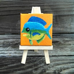 """Mini Dolphin Fish by Diane Dyal copyrighted 2-1/2"""" square"""