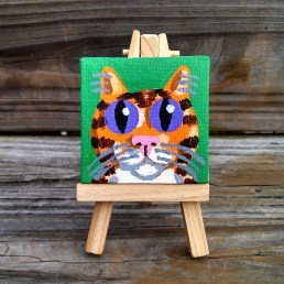 """Mini Orange Tabby with Bib by Diane Dyal copyrighted 2-1/2"""" square"""