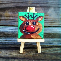 """Mini Reindeer by Diane Dyal copyrighted 2-1/2"""" square"""