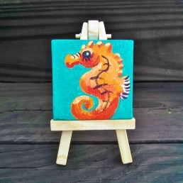 """Mini Seahorse by Diane Dyal copyrighted 2-1/2"""" square"""