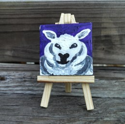 """Mini Sheep by Diane Dyal copyrighted 2-1/2"""" square"""