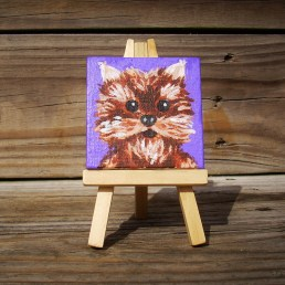 """Mini Yorkie by Diane Dyal copyrighted 2-1/2"""" square"""