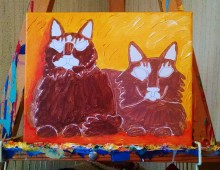 Sisters in Progress brown cats bkgrd finished