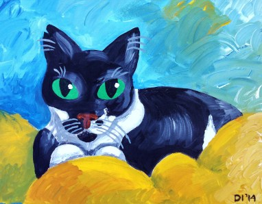 "Boots Takes a Break by Diane Dyal, 11""x14"" Acrylic, Custom Pet Portrait"