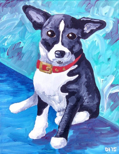 "Checkered Flag Dog by Diane Dyal, 11""x14"" Acrylic, Custom Pet Portrait"