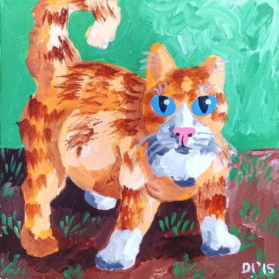 "Lime is a TNR Kitty by Diane Dyal, 8""x8"" Acrylic, Custom Pet Portrait"