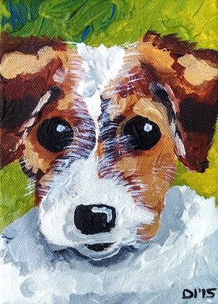 "Zoey the Pup by Diane Dyal, 5""x7"" Acrylic, Custom Pet Portrait"