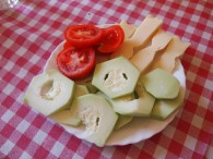 Fresh tomato, cucumber and cheese in Sicily