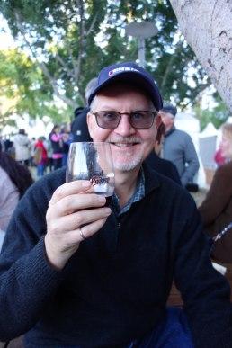 Ed samples the wine from the Granite Belt region