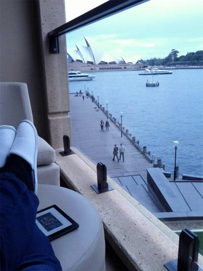 Diane relaxes on veranda and keeps an eye on the Opera House