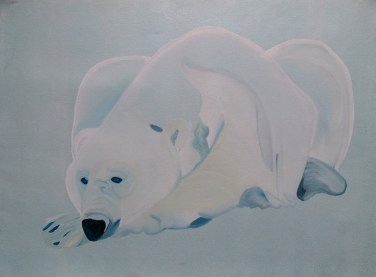 Blue Bear Waiting for Freeze-Up 18x24