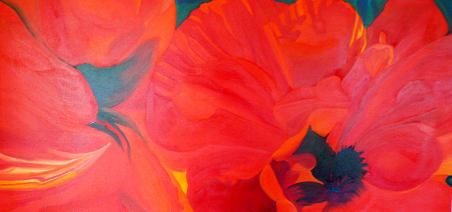 Pretty Poppies Times Two 36x70