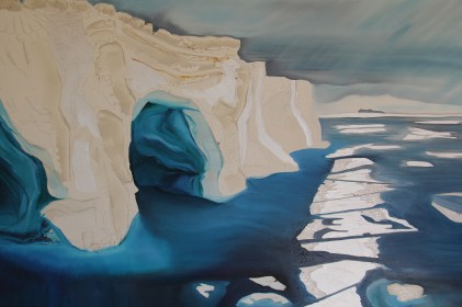 Double Tunnel Castle Iceberg 30x48 Acrylic and Oil on Canvas Amundsen Sea Antarctica