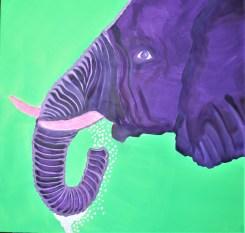Last to the River 36x36 Mixed media Chobe Botswana