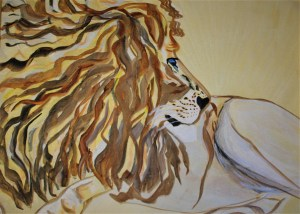 Sketch A Majestic King 18x24 Mixed media Botswana